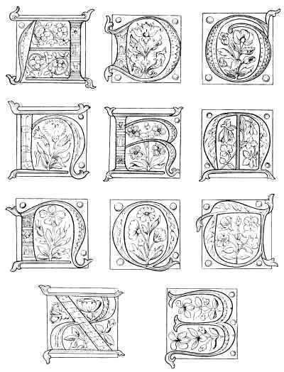 illuminated manuscript letter coloring page sketch